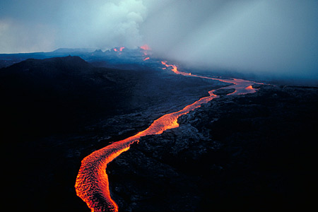 Lava flows down from the summit of Mauna Loa during the 1984 eruption.  Photo via USGS.