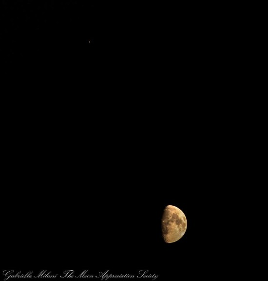 Telescopic view of last night's moon and Mars from EarthSky Facebook friend Moon Appreciation Society.