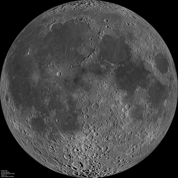 Composite image of the lunar nearside taken by the Lunar Reconnaissance Orbiter in June 2009. Note the presence of dark areas of maria on this side of the moon. Image credit: NASA