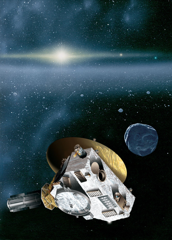This is an artist's rendering of the New Horizons spacecraft encountering a Kuiper Belt object — a city-sized icy relic left over from the birth of our solar system. The sun, more than 4.1 billion miles (6.7 billion kilometers) away, shines as a bright star embedded in the glow of the zodiacal dust cloud. Jupiter and Neptune are visible as orange and blue