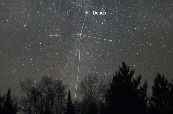 Northern Cross, with bright star Deneb at the top of the Cross, on a November evening via AstroBob