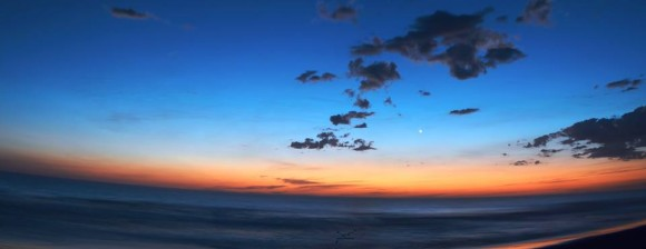 Sunrise, with Venus, a 2-shot panorama taken in El Salvador by