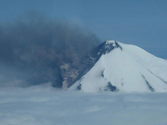 Photograph of the eruption at Mt. Pavlof on May 31, 2014. Image Credit: Paul Horn, Alaska Fish and Game.