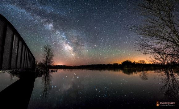 Stars reflecting in Unity Pond, Maine by Mike Taylor.  Thank you, Mike.  Visit Mike Taylor Photography.