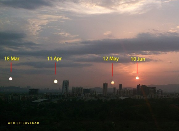 View larger. | Abhijit Juvekar in India captured an image of the sunset over a period of months, to show that the sun sets progressively farther north in the months leading up to the June solstice.  Thank you, Abhijit!