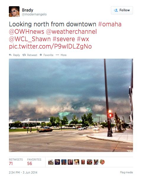Storms approaching Omaha on Tuesday, June 3.