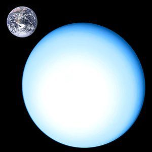 Large, featureless pale blue planet next to small Earth for size comparison.