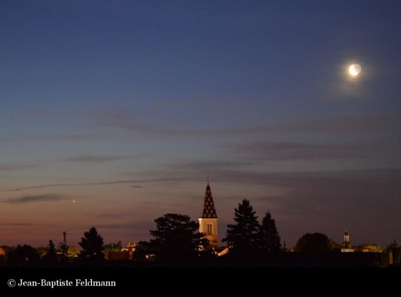 Moon (upper right) and Venus (lower left) on the morning of June 23, 2014 as captured by EarthSky Facebook friend Jean-Baptiste Feldmann in France.  Visit Jean-Baptiste on Facebook.