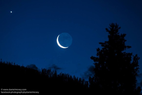 Moon and Venus on June 23, 2014, as captured by Daniel McVey in Silverthorne, Colorado.