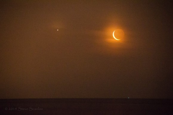 Steve Scanlon caught the moon and Venus over the Atlantic: