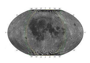 Map of the surface of the moon, grey with dark patches.
