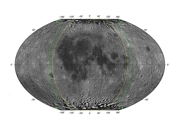 View larger The yellow lines define the near side of the moon, and the space between the yellow and green lines outline the far side of the moon that is visible from Earth, given favorable lunar librations.