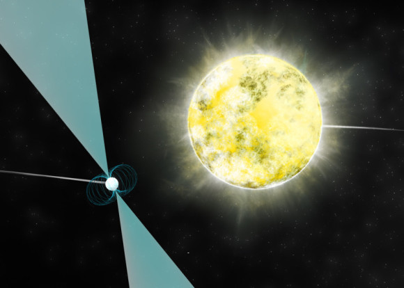 Artist impression of a white dwarf star in orbit with pulsar PSR J2222-0137. It may be the coolest and dimmest white dwarf ever identified. Image credit: B. Saxton (NRAO/AUI/NSF)