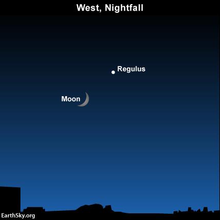 Moon, Regulus after sunset; Venus, Aldebaran before sunrise .