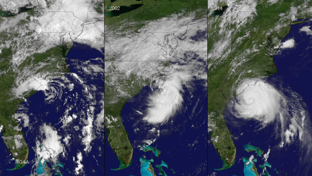 This is the third time that an Atlantic cyclone has been named Arthur. Shown here are the three storms: Tropical Storm Arthur on June 19, 1996 from GOES-8; Tropical Storm Arthur on July 14, 2002 from GOES-8; Hurricane Arthur on July 3, 2014 from GOES-13. Interestingly, all three storms moved along the North Carolina coast.  Image via NOAA