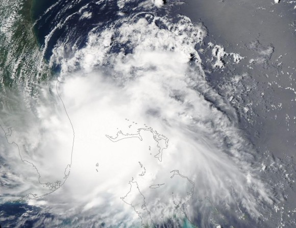 Visible satellite imagery of Tropical Depression Arthur on July 1, 2014. Image Credit: MODIS/NASA