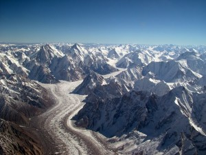 Baltoro Glacier from the air via Wikimedia Commons.