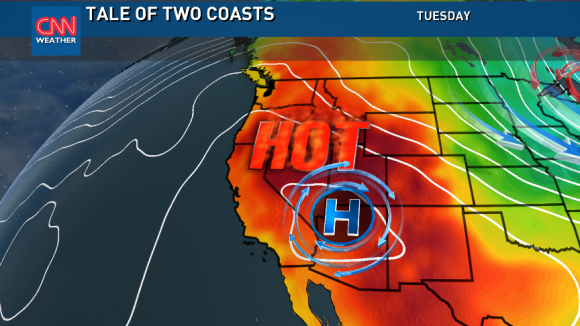 Cool in the East, but big heat in the Western U.S./Canada. Image Credit: CNN Weather