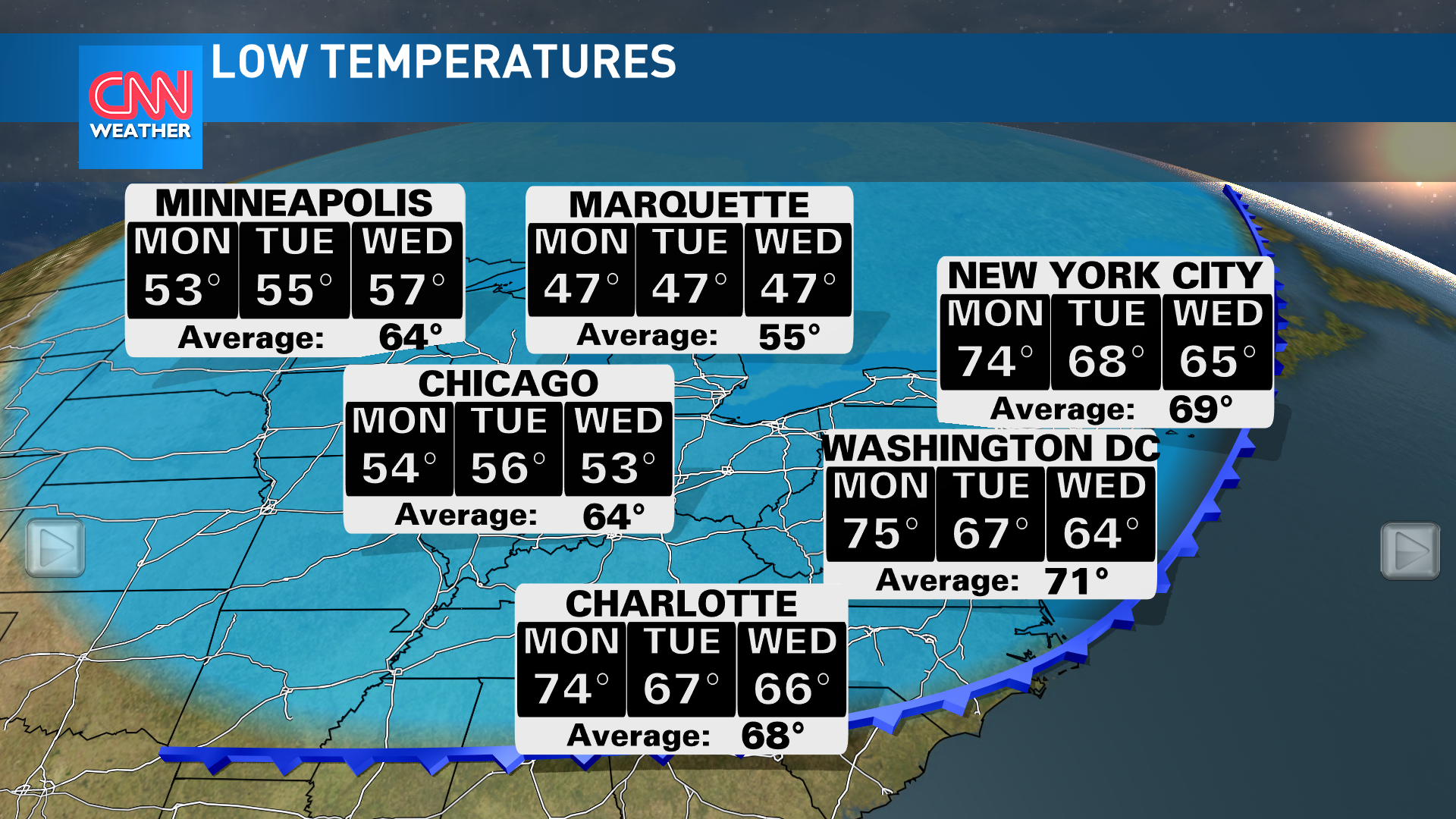 Check out the forecast of low temperatures for the start of the week. Image Credit: CNN Weather