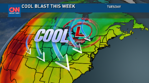 Much cooler weather will occur across the Eastern half of the U.S. this week. Image Credit: CNN Weather