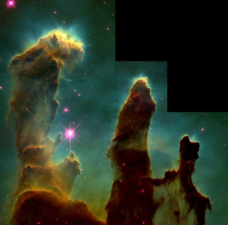 This is a 1995 Hubble photo of the Pillars of Creation.  It's one of the most famous photos ever taken by the Hubble Space Telescope.  This feature is located within the Eagle Nebula. Image via HubbleSite.