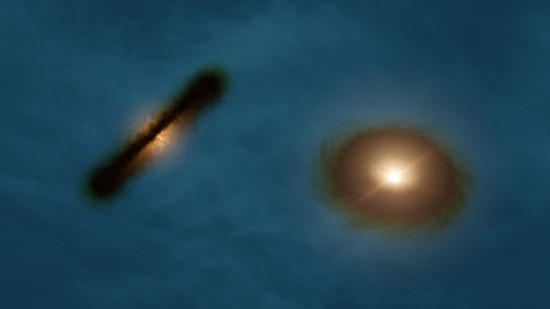 Artist's impression of the misaligned protoplanetary disks around the binary stars in HK Tau. Credit: R. Hurt (NASA/JPL-Caltech/IPAC)