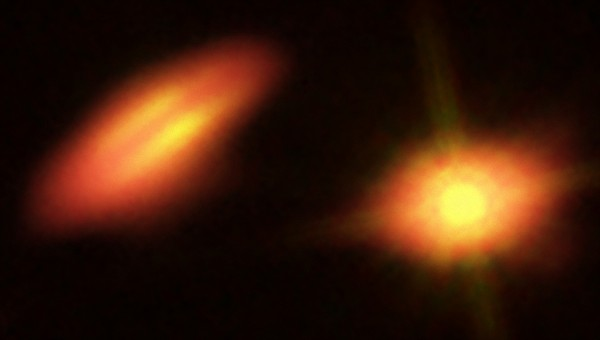Here is the double star system HK Tau, as seen in both optical and infrared.  Astronomers have discovered that the star-forming disks of this double star are oriented oddly with respect to each other.  Image via B. Saxton (NRAO/AUI/NSF); K. Stapelfeldt et al. (NASA/ESA Hubble)