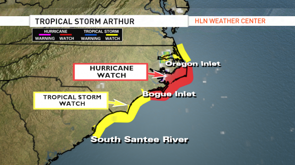 Watches across the South Carolina and North Carolina coastline. Image Credit: CNN/HLN Weather