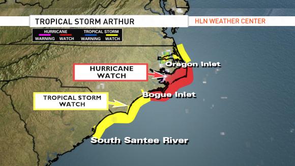 Watches across the South Carolina and North Carolina coastline. Image Credit: CNN/HLN Weather