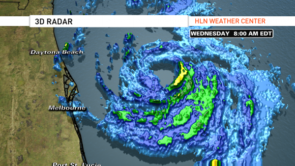 3D radar imagery around 8am EDT on July 2, 2014 showing that an eye is trying to form. Image Credit: CNN/HLN Weather (Judson Jones)