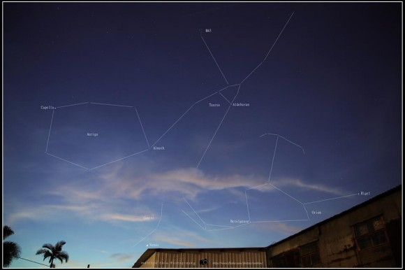 Matthew Chin in Hong Kong caught this photo of Orion and Taurus on July 26, 2014.