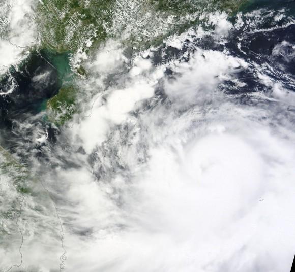 Visible satellite image showing Rammasun approaching China on 7/17/14. Image Credit: NASA