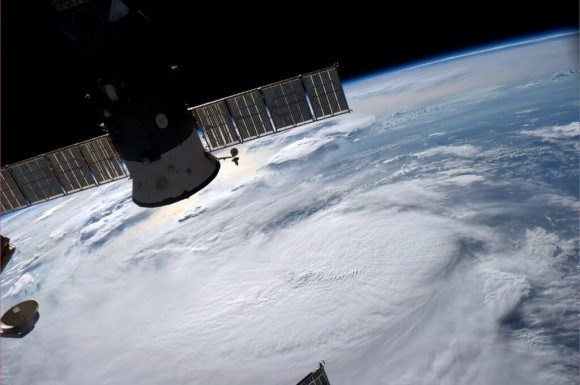 Tropical Storm Arthur as a depression from the International Space Station. Image Credit: Reid Wiseman (@astro_reid)