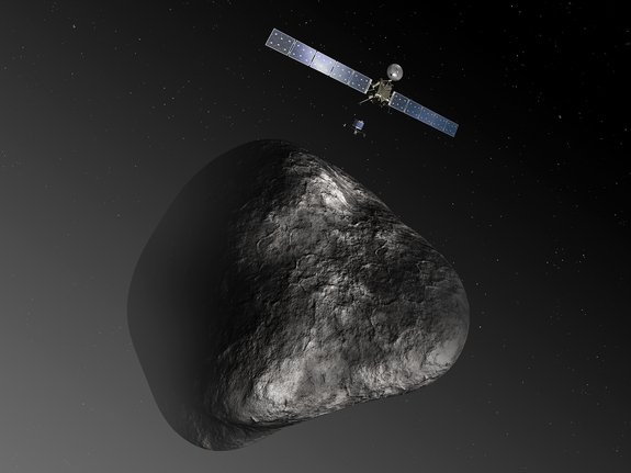 Artist's impression of the Rosetta orbiter deploying its Philae lander to comet 67P/Churyumov–Gerasimenko in November, 2014.  Image via ESA–C. Carreau/ATG medialab.