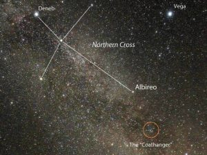 Dense starfield with constellation Northern Cross shown and Coathanger cluster circled.