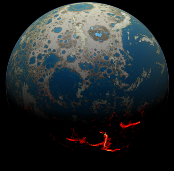 An artistic conception of the early Earth, showing a surface pummeled by large impacts. Image credit: Credit: Simone Marchi/SwRI.