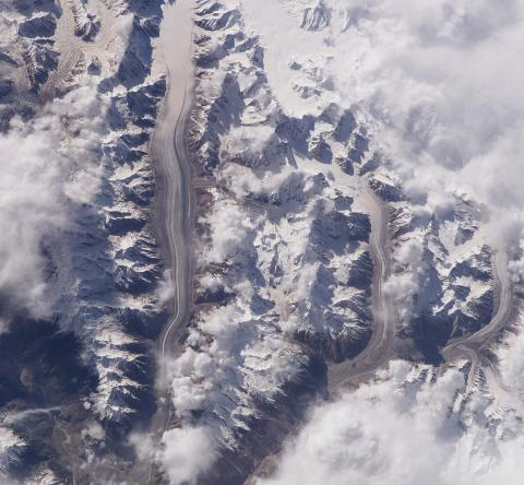 Satellite image of Baltoro Glacier in Pakistan, via NASA.