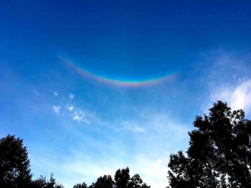 Patricia Chambers caught this circumzenithal arc from Potomac, Maryland on August 5, 2016. She wrote: