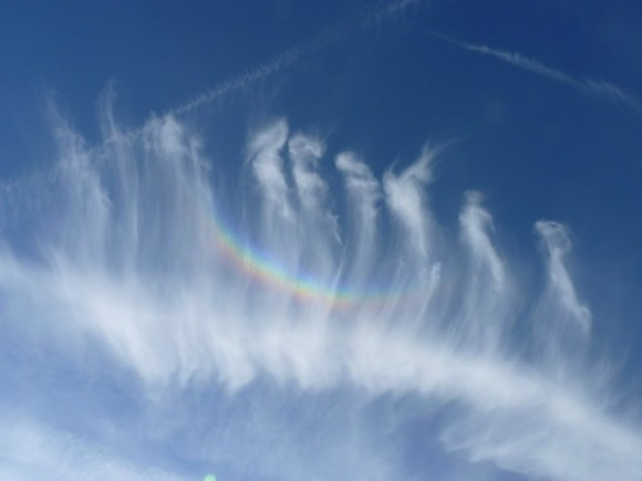 Parallel horsetail cirrus clouds with circumzenithal arc across them.