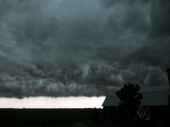 Steve Pitstick of Pitstick Farms in northern Illinois caught these classic prairie storm clouds on Monday, June 30.  Used with permission.  Thank you, Steve.