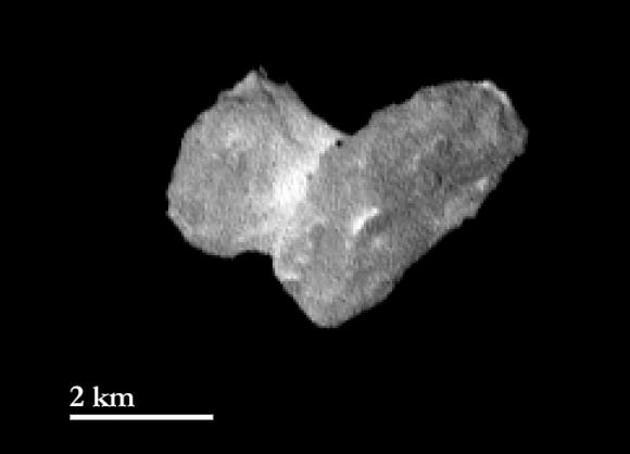 Image from Rosetta spacecraft July 29, 2014.  Credits: ESA/Rosetta/MPS for OSIRIS Team MPS/UPD/LAM/IAA/SSO/INTA/UPM/DASP/IDA.