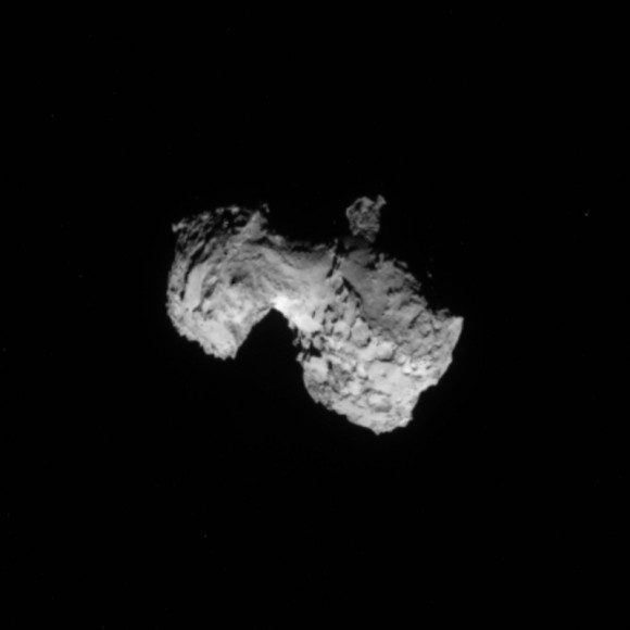 Comet 67P/Churyumov–Gerasimenko imaged on Sunday, August 3, 2014.  In this image, the 3.5 by 4 kilometer- sized nucleus was seen at a distance of 300 kilometers / 186 miles by the Rosetta Mission Navigation Camera (NavCam).