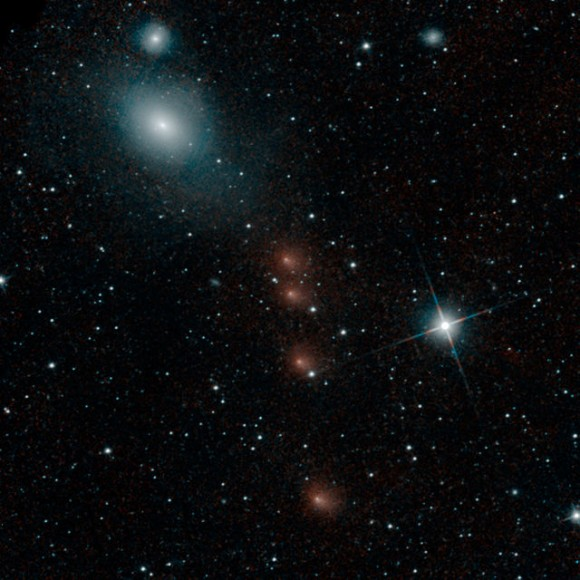 NEOWISE caught these four different shots of Comet Siding Spring around July 28, 2014 and combined them into this single image.  Read more about this image from NASA.