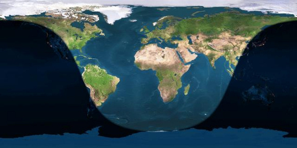 Day and night sides of Earth at the instant of the July 2014 full moon (2014 July 12 at 11:25 Universal Time)