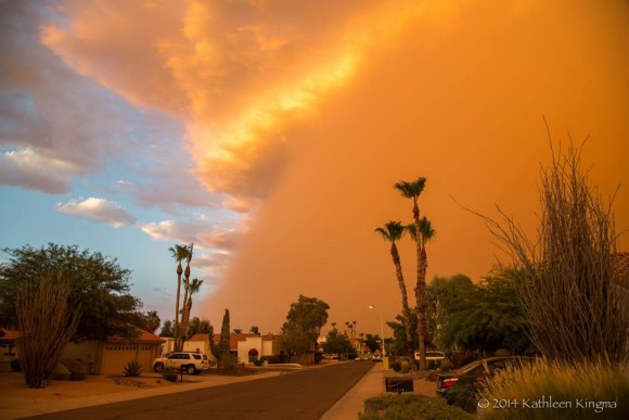 View larger. | Kathleen Kingma, an EarthSky friend on Facebook, caught this dramatic shot of the July 3 haboob in Phoenix.