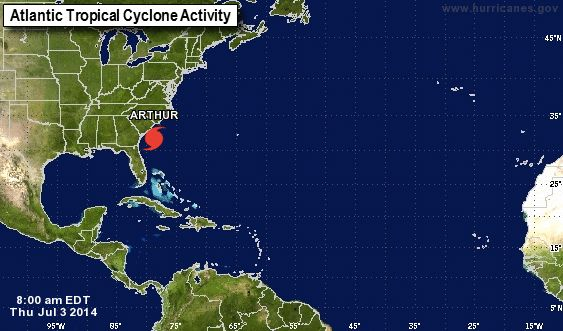 Arthur was upgraded to a Hurricane early this morning and is forecast to move past the North Carolina Outer Banks tonight. Hurricane Watches and Warnings, along with Tropical Storm Watches and Warnings, remain in effect from New Jersey to South Carolina. In addition to coastal flooding, dangerous rip currents will impact much of the East Coast through this weekend due to Hurricane Arthur.  Image via National Weather Service.