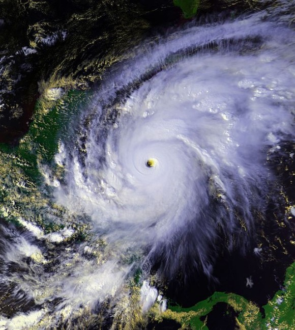 NOAA satellite image of Hurricane Mitch, the second-deadliest Atlantic hurricane on record. Mitch caused more than 10,000 deaths across Central America.  Image via Wikimedia Commons/ NCAR.