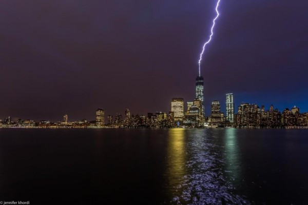 Jennifer Khordi caught the lightning hitting One World Trade Center from New Jersey.
