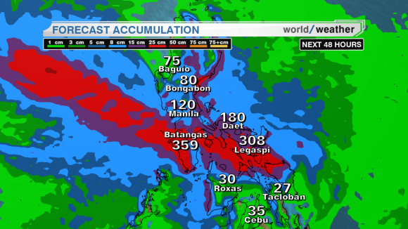 Possible rainfall  accumulation rates across the Philippines. Image Credit: Mari Ramos via CNN International Weather