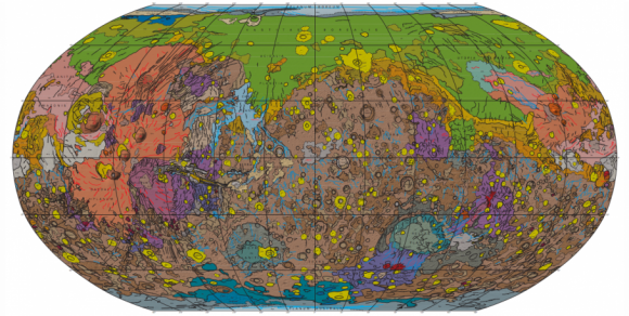 View interactive map sheet. | Geologic map of Mars via Denneth Tanaka et.al. 2014